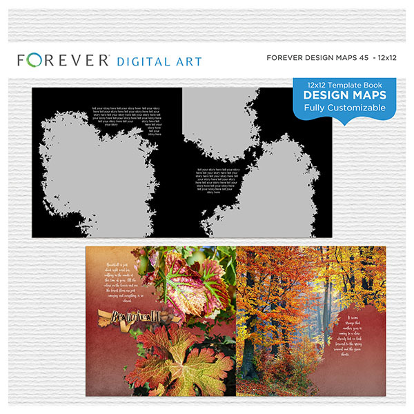 Forever Design Maps 45 - 12x12 Digital Art - Digital Scrapbooking Kits