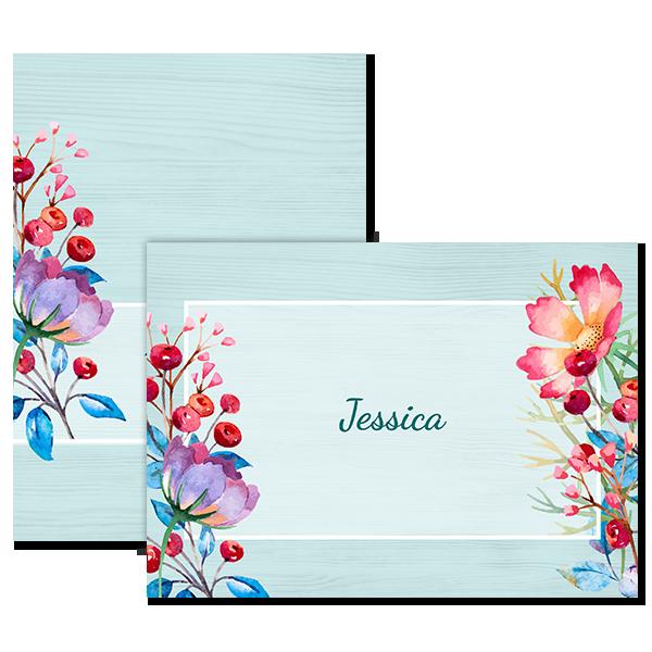Coastal Berry Floral Notecard Card