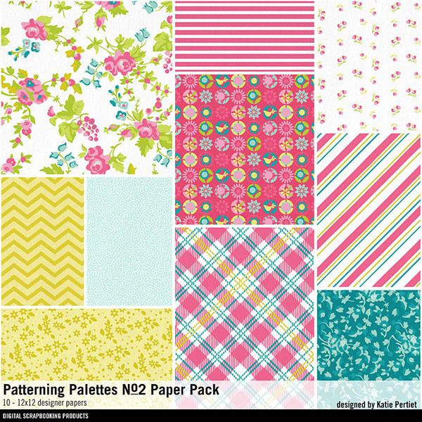 Patterning Palettes No. 02 Paper Pack Digital Art - Digital Scrapbooking Kits