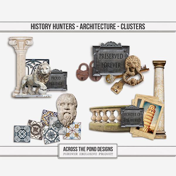 History Hunters - Architecture - Clusters Digital Art - Digital Scrapbooking Kits