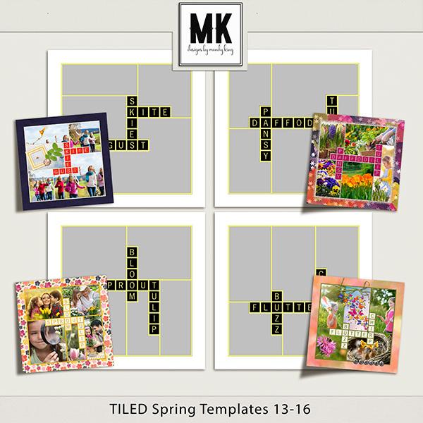 TILED Spring Templates 13-16 Digital Art - Digital Scrapbooking Kits