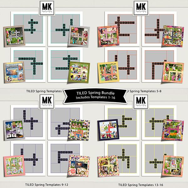 TILED Spring Templates Bundle Digital Art - Digital Scrapbooking Kits