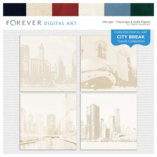 City Break - Chicago -  Cityscape & Solid Papers Digital Art - Digital Scrapbooking Kits