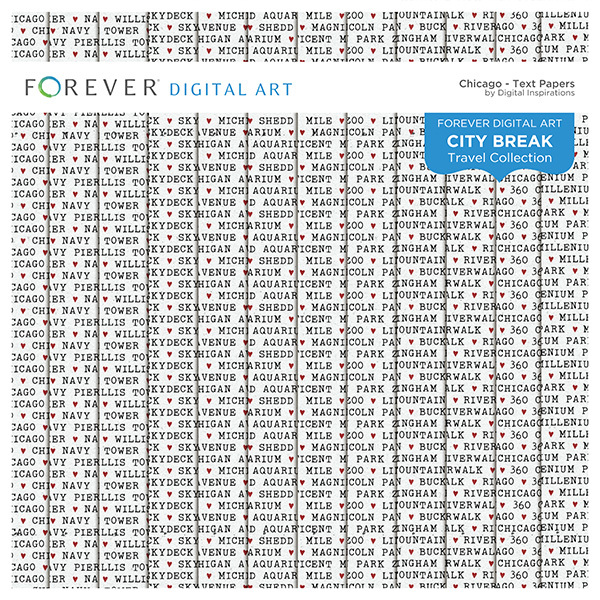 City Break - Chicago -  Text Papers Digital Art - Digital Scrapbooking Kits