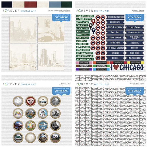 City Break - Chicago -  Bundle Digital Art - Digital Scrapbooking Kits