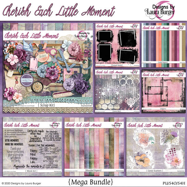 Cherish Every Little Moment Mega Bundle Digital Art - Digital Scrapbooking Kits