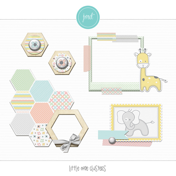 Little One Clusters Digital Art - Digital Scrapbooking Kits