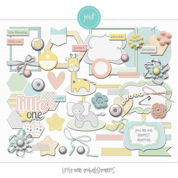 Little One Embellishments Digital Art - Digital Scrapbooking Kits