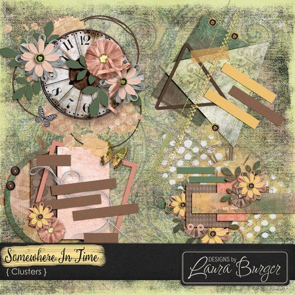 Somewhere In Time Clusters Digital Art - Digital Scrapbooking Kits
