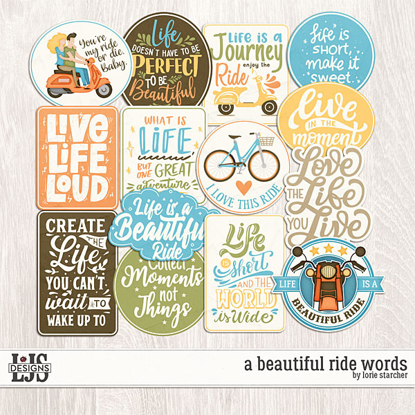 A Beautiful Ride Words Digital Art - Digital Scrapbooking Kits