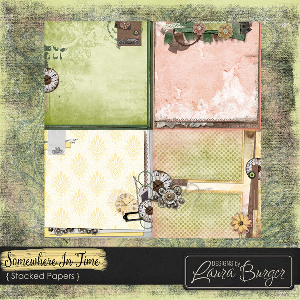 Somewhere In Time Stacked Papers Digital Art - Digital Scrapbooking Kits