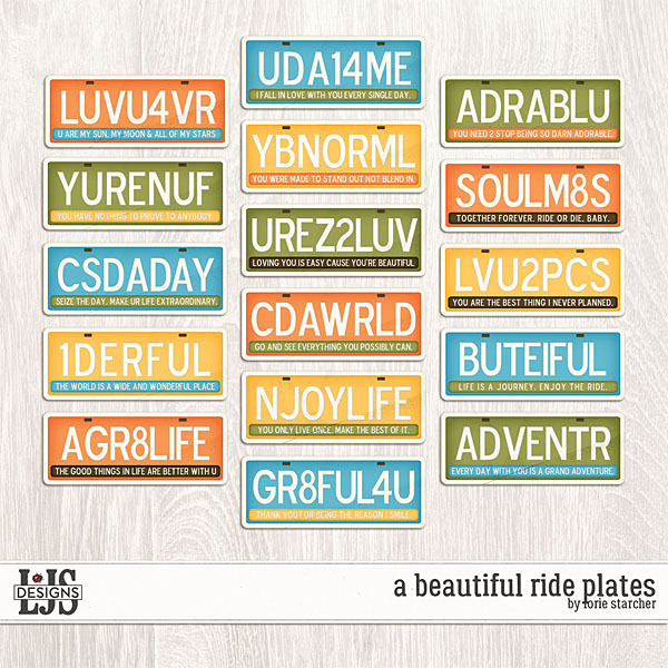 A Beautiful Ride Plates Digital Art - Digital Scrapbooking Kits
