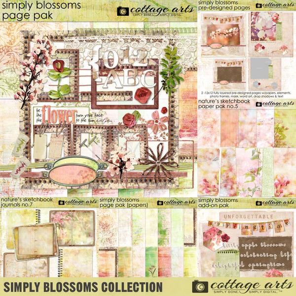 Simply Blossoms Collection Digital Art - Digital Scrapbooking Kits