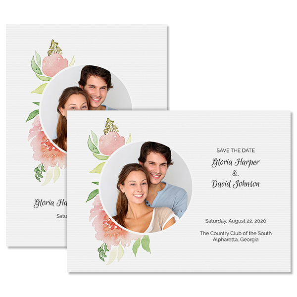 Fashionable Floral Invite with Photo Card