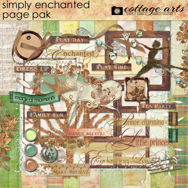 Simply Enchanted Page Pak Digital Art - Digital Scrapbooking Kits