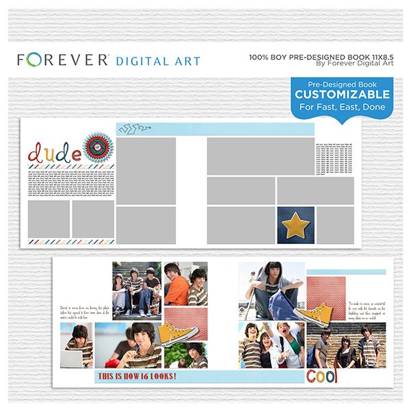 100% Boy Pre-designed Book 11x8.5 Digital Art - Digital Scrapbooking Kits