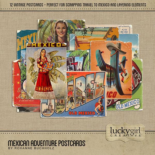Mexican Adventure Postcards Digital Art - Digital Scrapbooking Kits