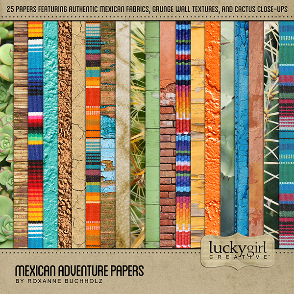 Mexican Adventure Papers Digital Art - Digital Scrapbooking Kits