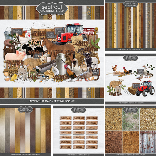 Adventure Days - Petting Zoo Bundle Digital Art - Digital Scrapbooking Kits