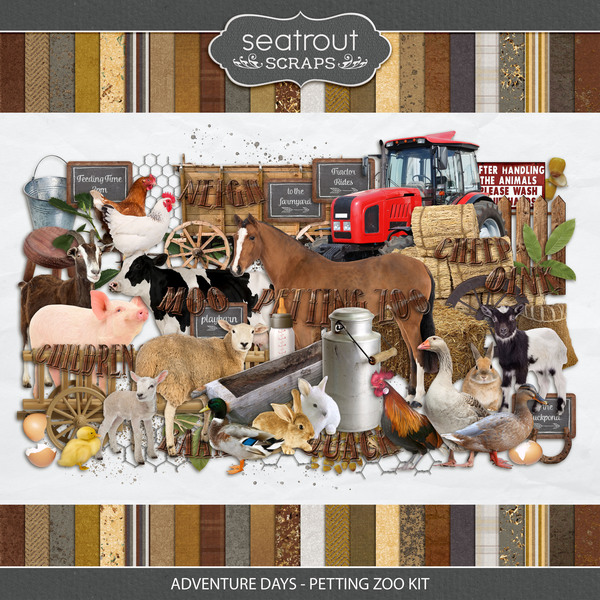 Adventure Days - Petting Zoo Kit Digital Art - Digital Scrapbooking Kits