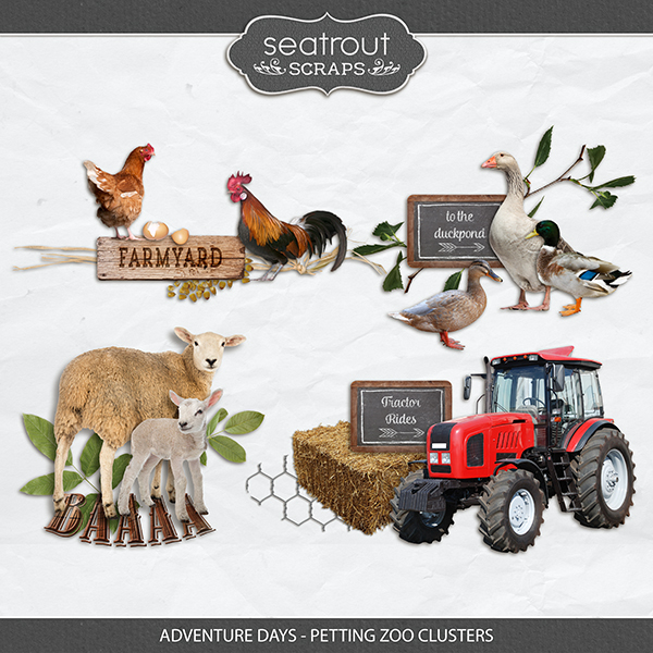Adventure Days - Petting Zoo Clusters Digital Art - Digital Scrapbooking Kits