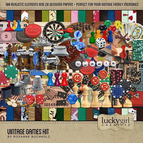 Vintage Games Kit Digital Art - Digital Scrapbooking Kits