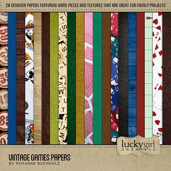 Vintage Games Papers Digital Art - Digital Scrapbooking Kits