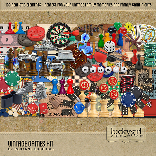 Vintage Games Elements Digital Art - Digital Scrapbooking Kits