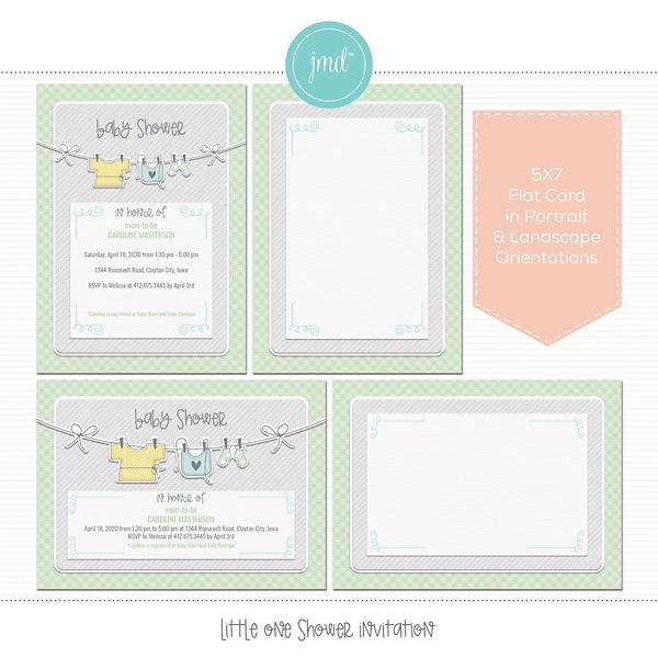 Little One Shower Invitation Digital Art - Digital Scrapbooking Kits