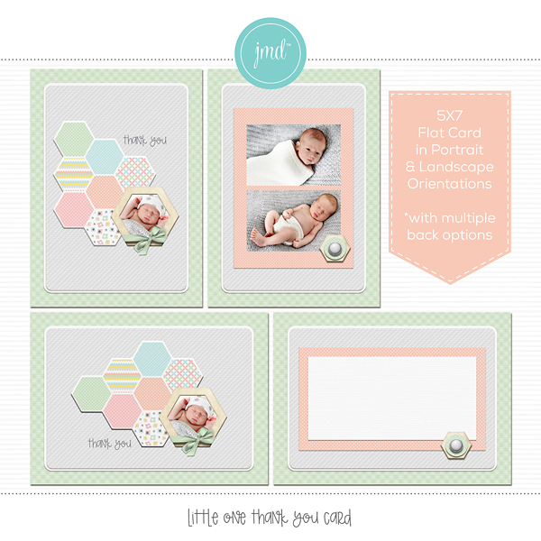 Little One Thank You Card Digital Art - Digital Scrapbooking Kits