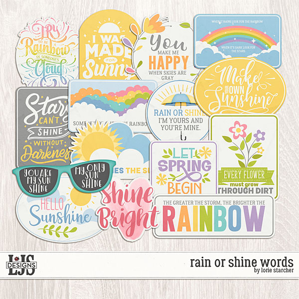 Rain Or Shine Words Digital Art - Digital Scrapbooking Kits