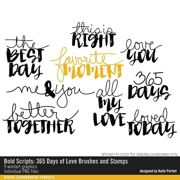 Bold Scripts 365 Days of Love Brushes and Stamps Digital Art - Digital Scrapbooking Kits