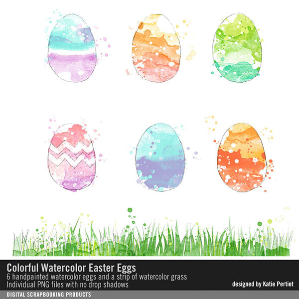 Colorful Watercolor Easter Eggs No. 01 Digital Art - Digital Scrapbooking Kits
