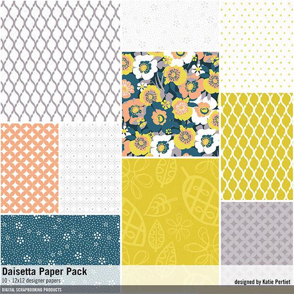 Daisetta Paper Pack Digital Art - Digital Scrapbooking Kits