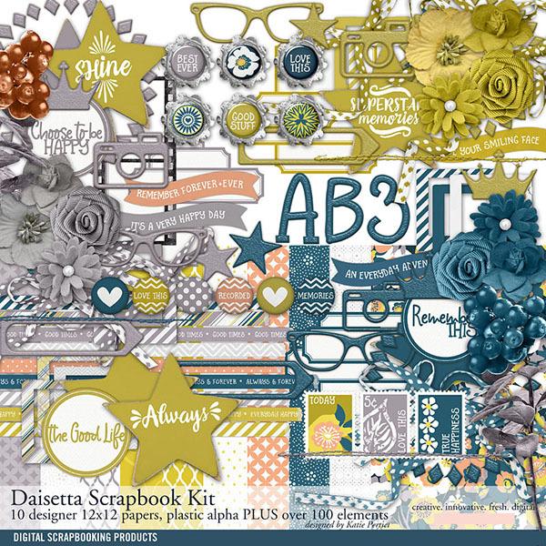 Daisetta Scrapbook Kit Digital Art - Digital Scrapbooking Kits