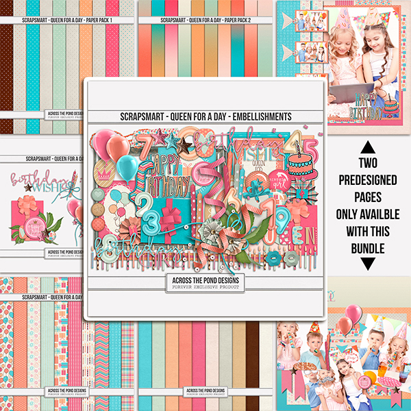 ScrapSmart - Queen For A Day  - Bundle Digital Art - Digital Scrapbooking Kits