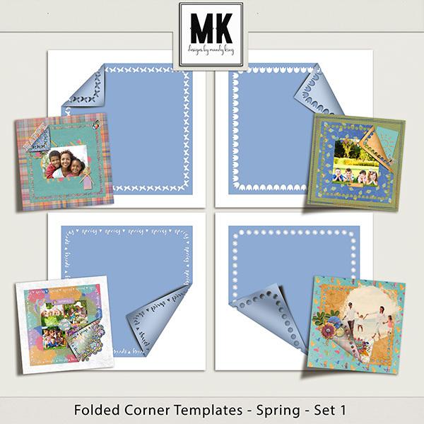 Folded Corner Templates - Spring - Set 1 Digital Art - Digital Scrapbooking Kits