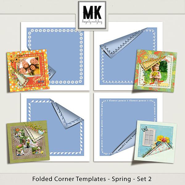 Folded Corner Templates - Spring - Set 2 Digital Art - Digital Scrapbooking Kits