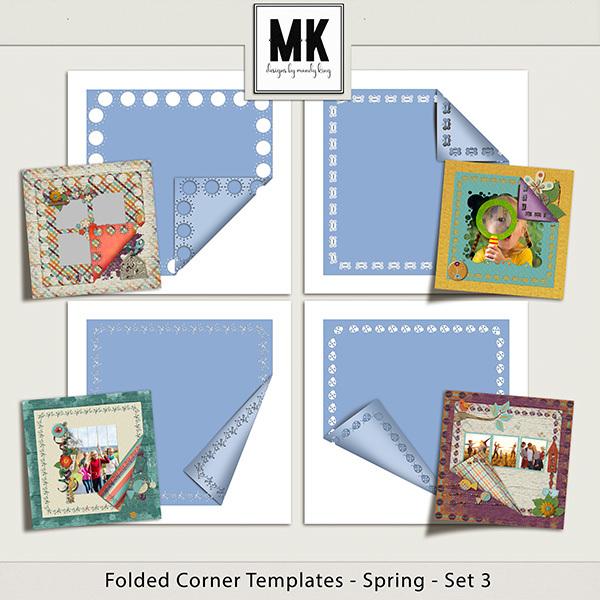 Folded Corner Templates - Spring - Set 3 Digital Art - Digital Scrapbooking Kits