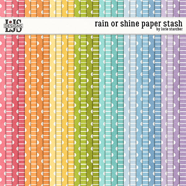 Rain Or Shine Paper Stash Digital Art - Digital Scrapbooking Kits