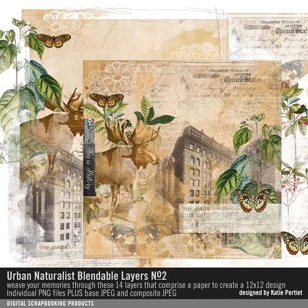 Urban Naturalist Blendable Layers No. 02 Digital Art - Digital Scrapbooking Kits