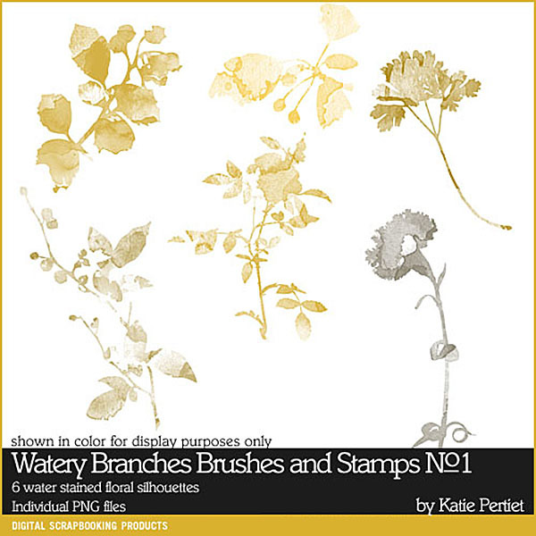 Watery Branches Brushes and Stamps No. 01 Digital Art - Digital Scrapbooking Kits