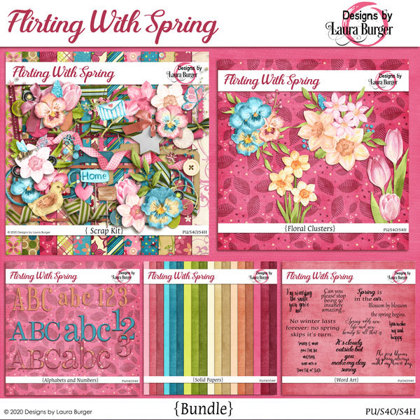 Flirting with Spring Bundle Digital Art - Digital Scrapbooking Kits