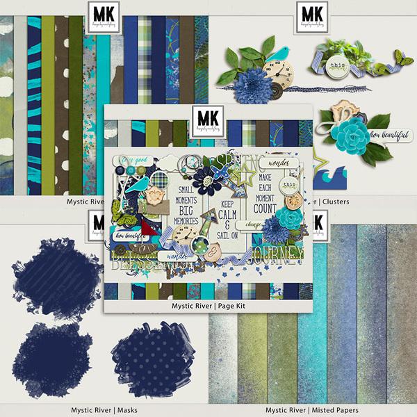 Mystic River Collection Digital Art - Digital Scrapbooking Kits