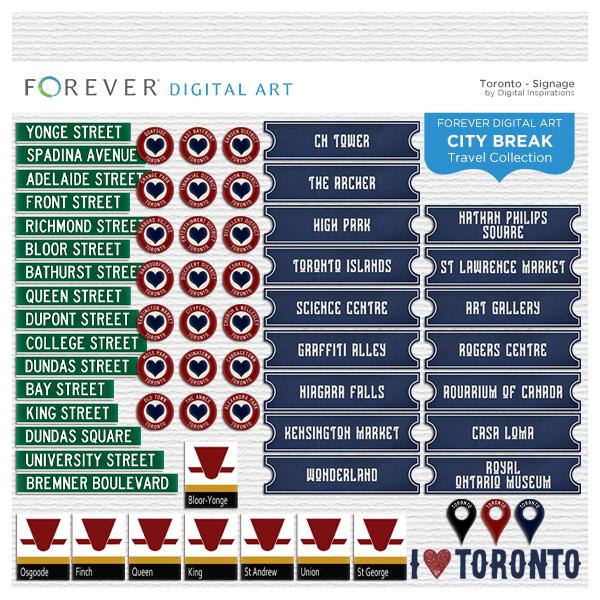 City Break - Toronto -  Signage Digital Art - Digital Scrapbooking Kits