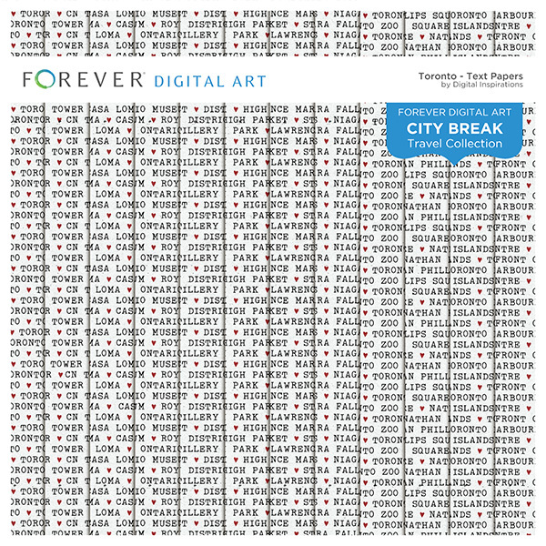 City Break - Toronto -  Text Papers Digital Art - Digital Scrapbooking Kits