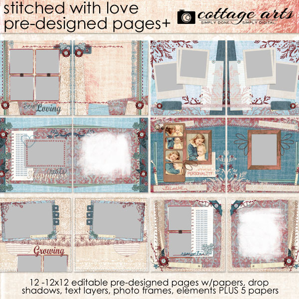Stitched with Love Pre-designed Pages Digital Art - Digital Scrapbooking Kits