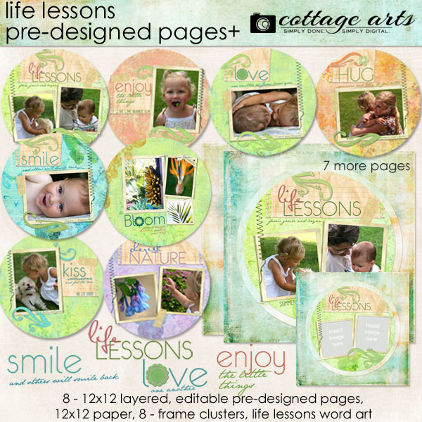 Life Lessons Pre-designed Pages Digital Art - Digital Scrapbooking Kits