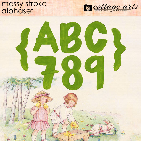 Messy Stroke AlphaSet Digital Art - Digital Scrapbooking Kits