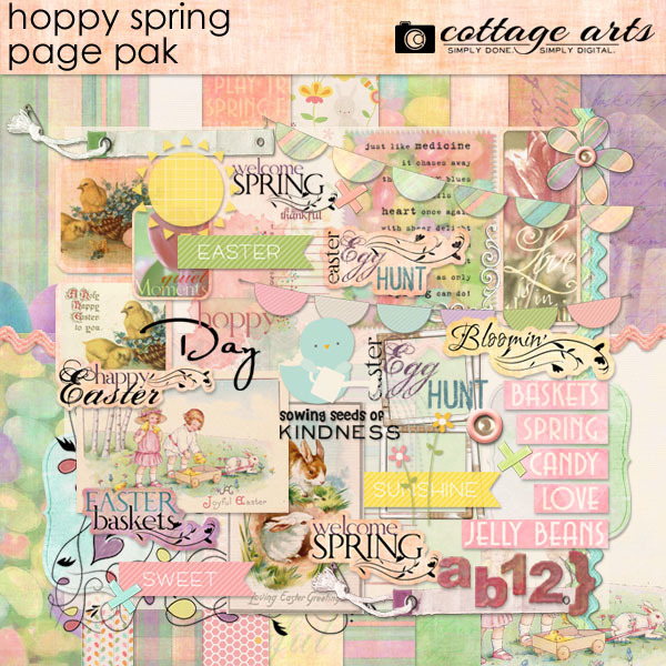 Hoppy Spring Page Pak Digital Art - Digital Scrapbooking Kits